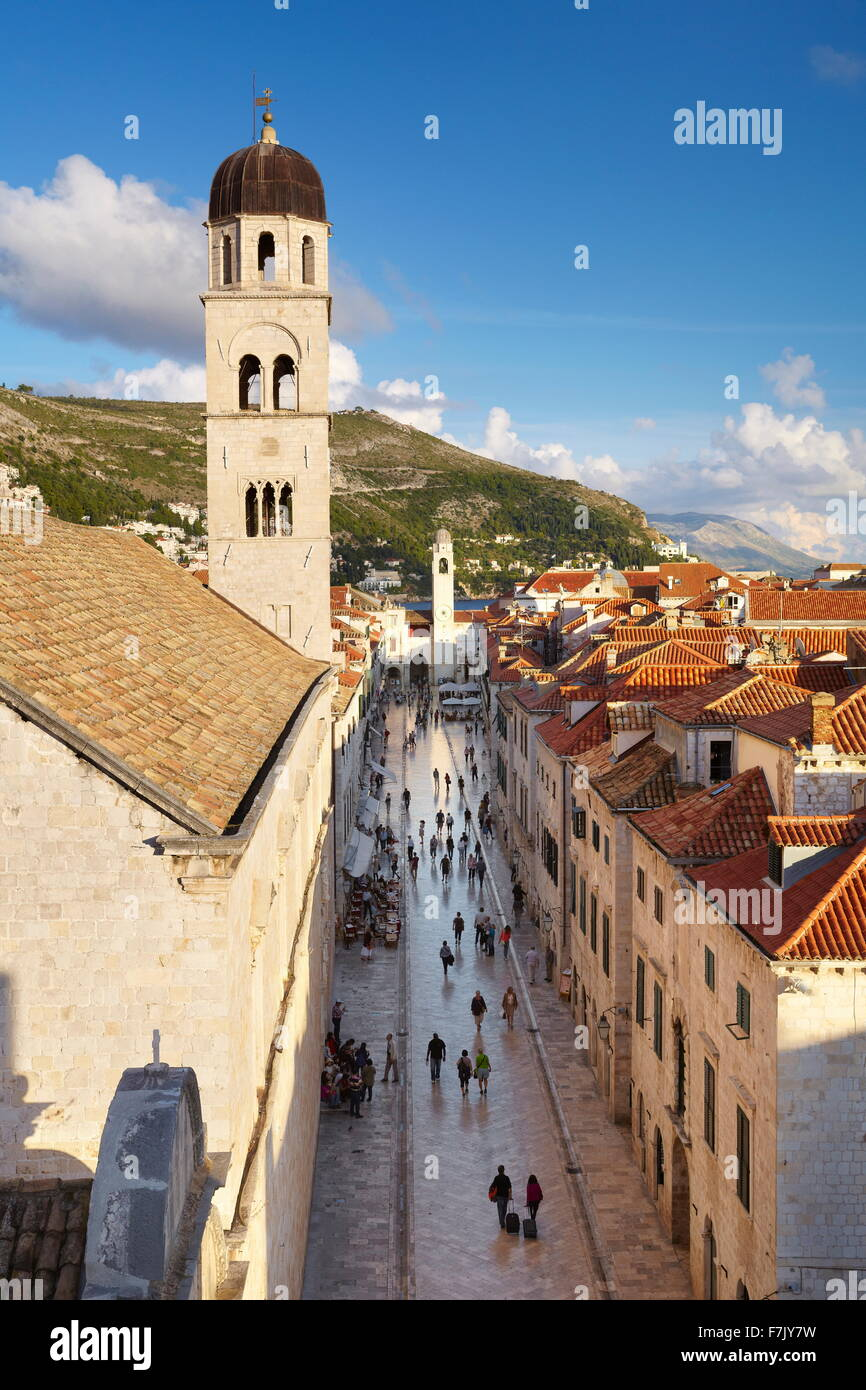 Dubrovnik Old Town Street - view from City Walls, Dalmatia, Croatia - Stock Image