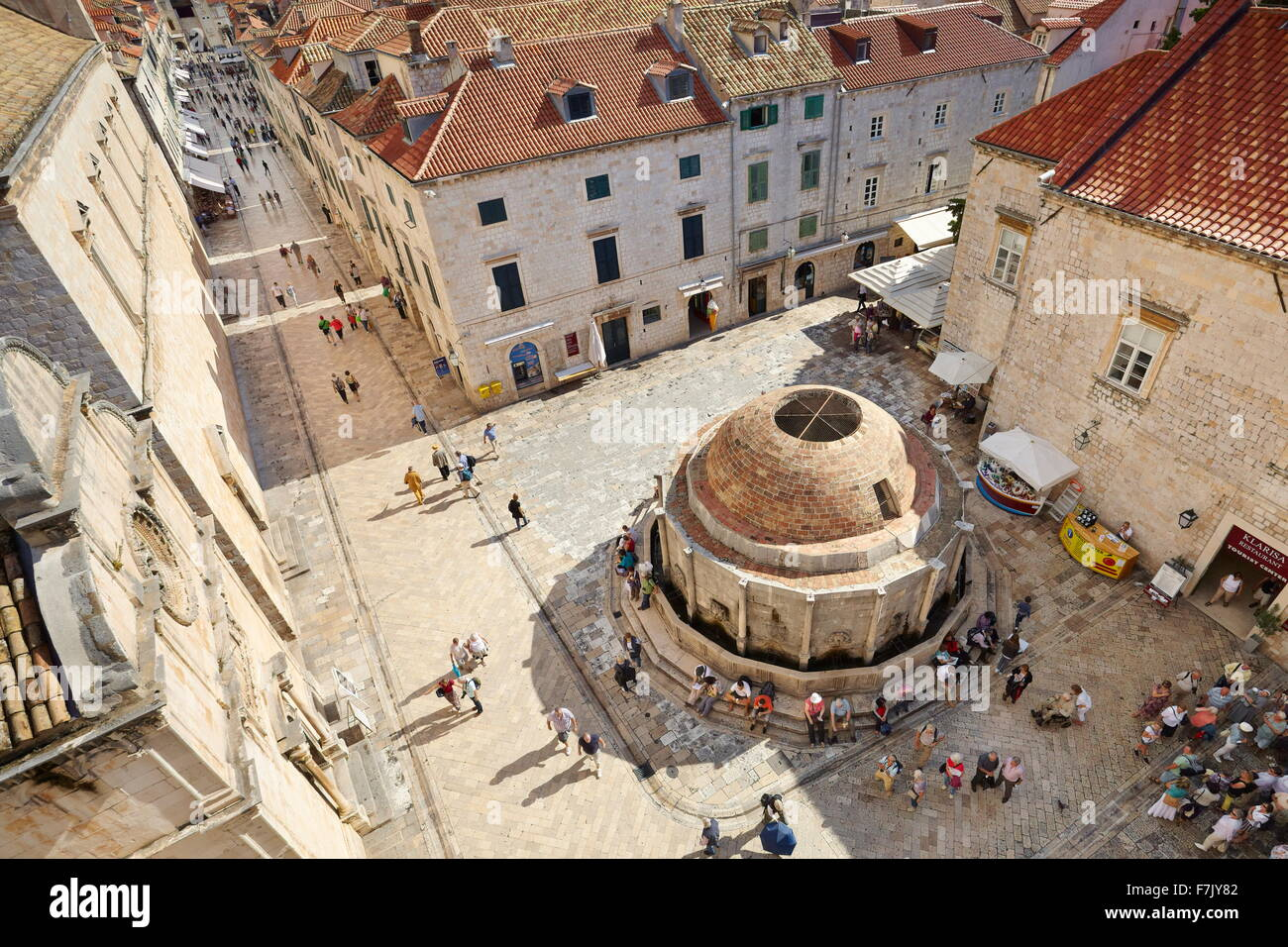 Dubrovnik Onofrio Fountain, view from Old Town City Walls, Dalmatia, Croatia - Stock Image
