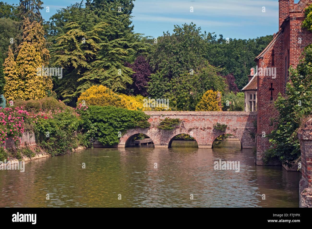 Kentwell Hall Bridge Over Moat Suffolk Stock Photo