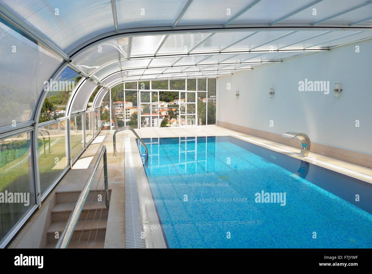 indoor swimming pool at modern home Stock Photo: 90771451 ...