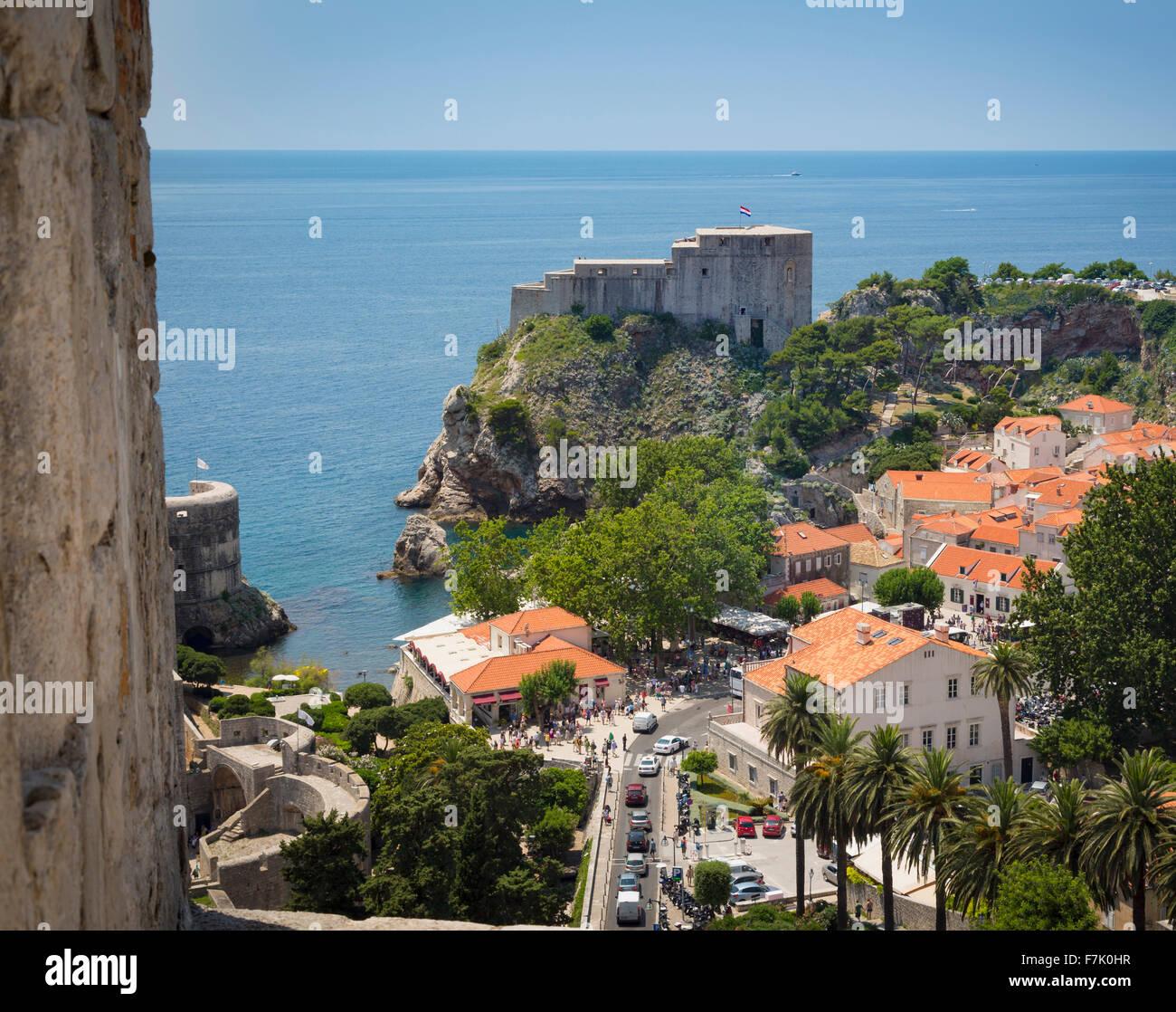 Dubrovnik, Dubrovnik-Neretva County, Croatia. Fort Lovrijenac or St. Lawrence Fortress. - Stock Image