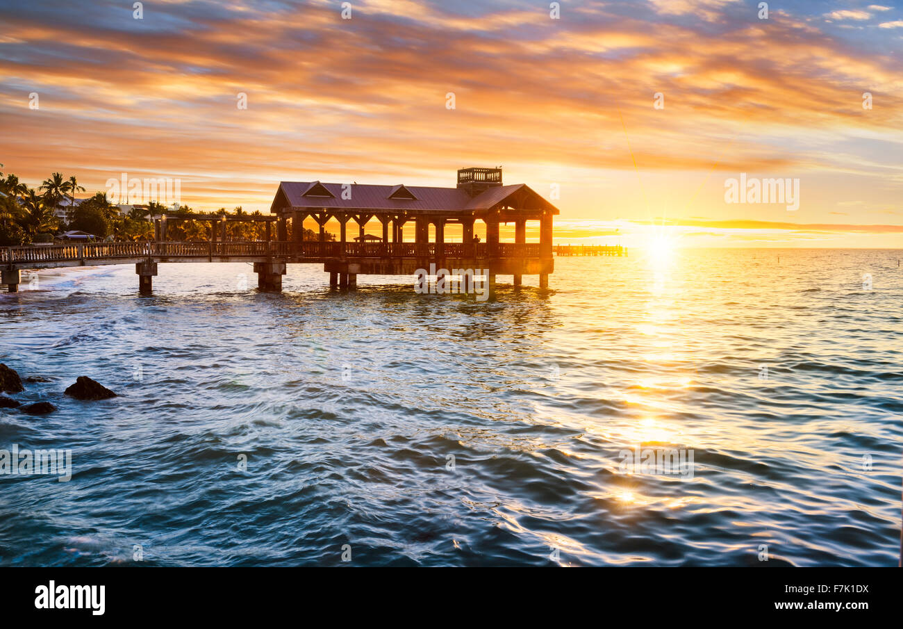 Pier at the beach in Key West, Florida USA - Stock Image