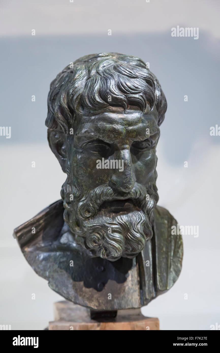 Epicurus, 341–270 BC. Ancient Greek philosopher & founder of Epicureanism.  Bronze.  3rd century BC Roman copy - Stock Image