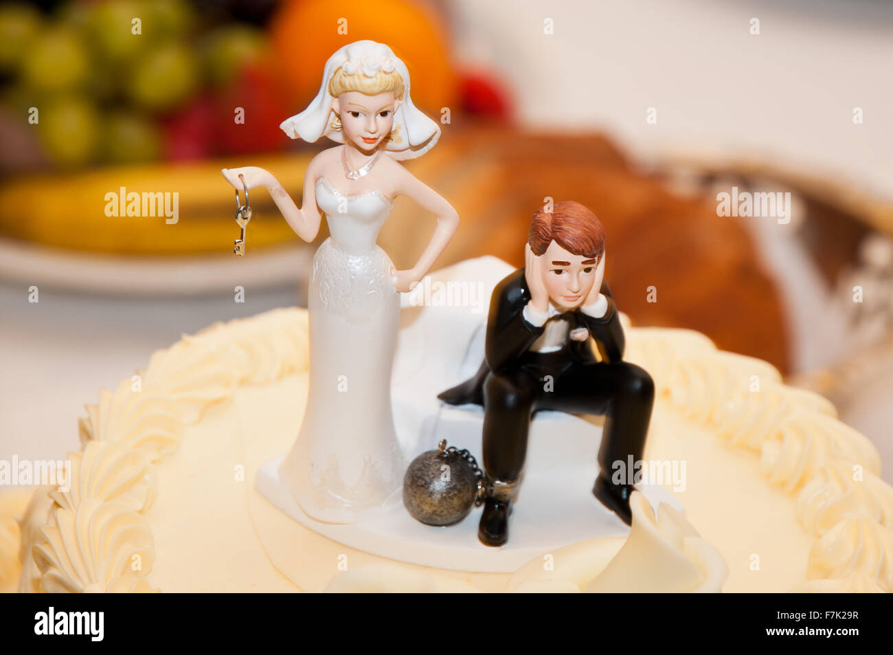 Wedding Cake Topper Funny Bride Holding The Keys Of The Ball With