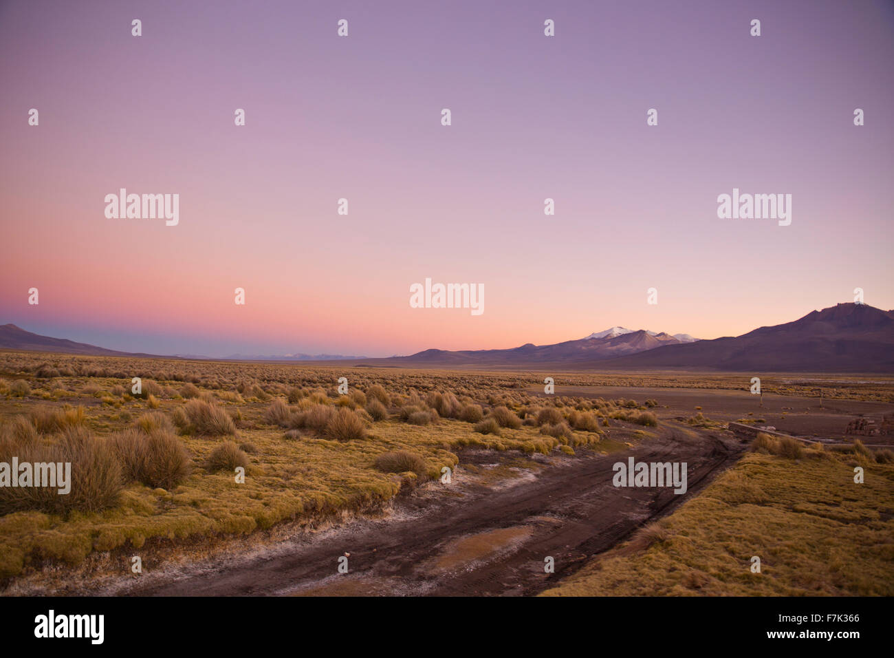 Beautiful sunrise in the Andes mountains. Andean Highlands - Stock Image