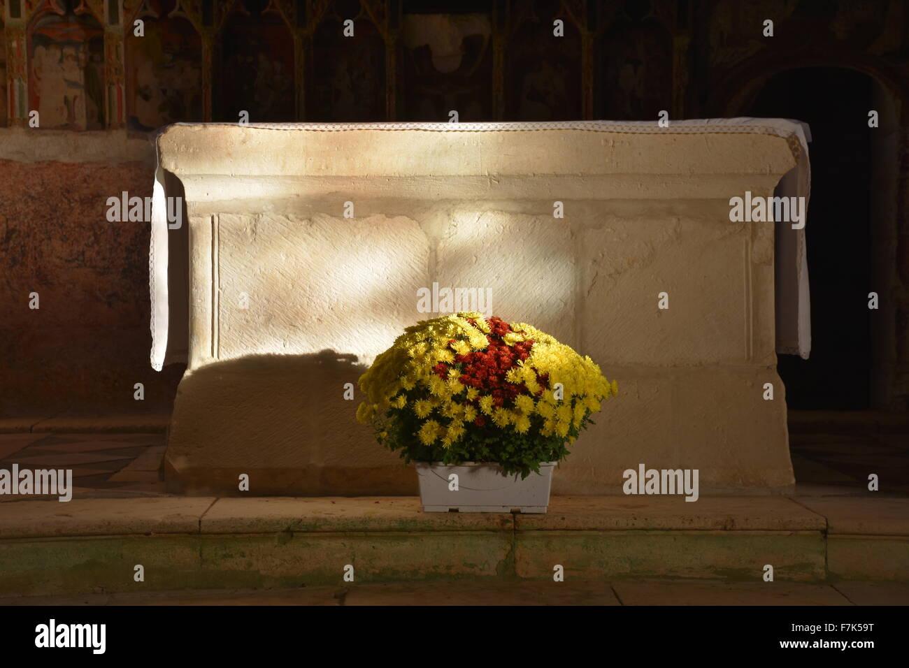 Altar, Aubdignon church, Landes, France - Stock Image