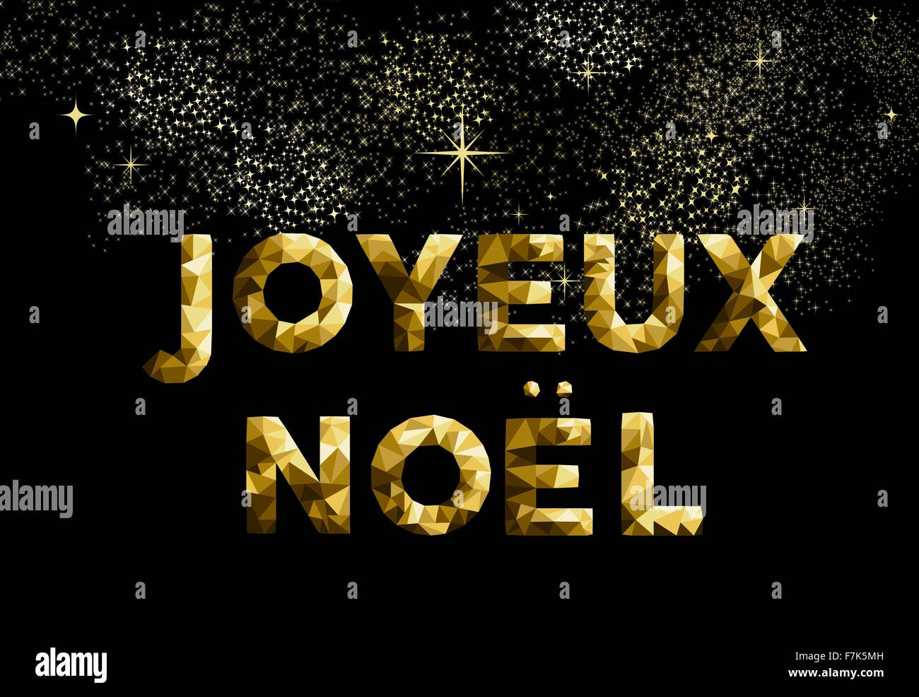 Merry christmas greeting card in french language joyeux noel gold merry christmas greeting card in french language joyeux noel gold low poly style ideal for holiday poster web or worldwide m4hsunfo
