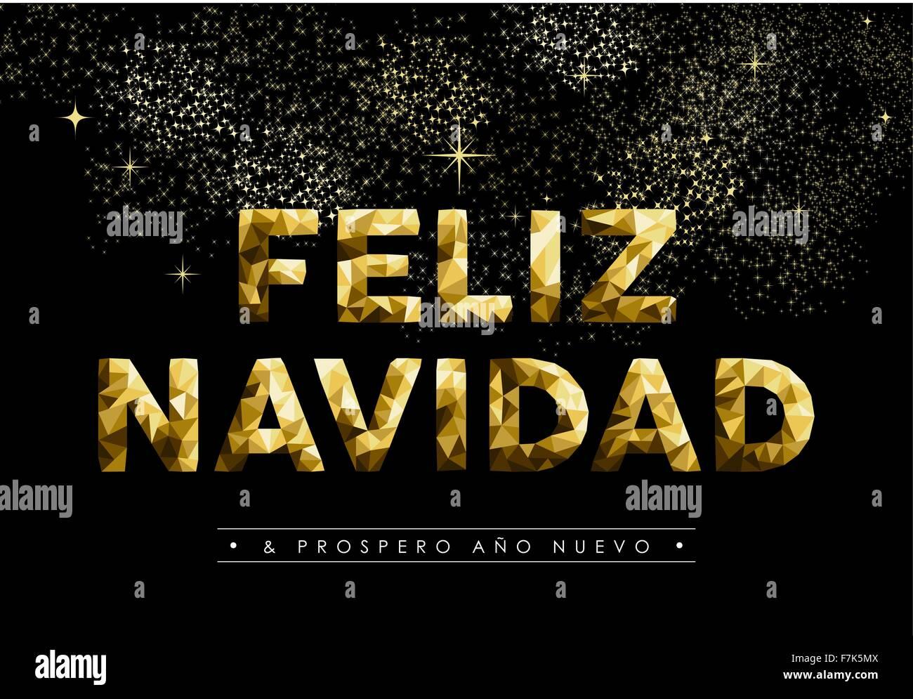 Merry Christmas Greeting Card In Spanish Language Feliz Navidad And