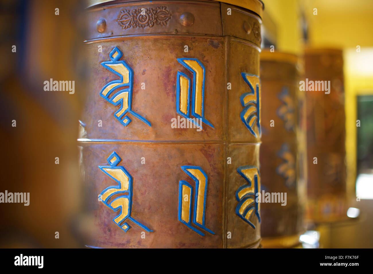 This photograph is of Buddhist prayer wheels at the Tibetan