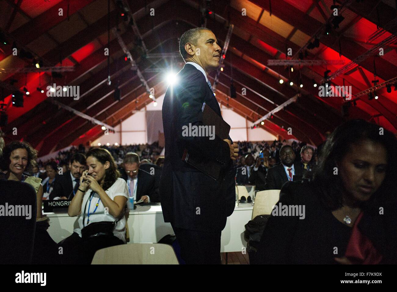 Le Bourget, France. 30th November, 2015. U.S. President Barack Obama during the opening session of the COP21, United - Stock Image