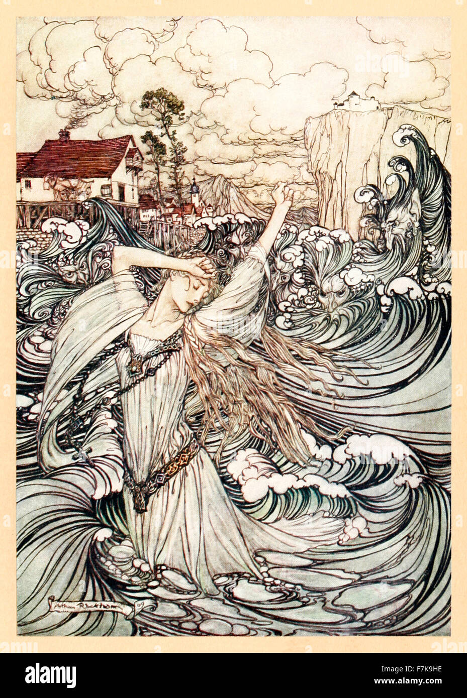 'Soon she was lost to sight in the Danube' from 'Undine' illustrated by Arthur Rackham (1867-1939). See - Stock Image