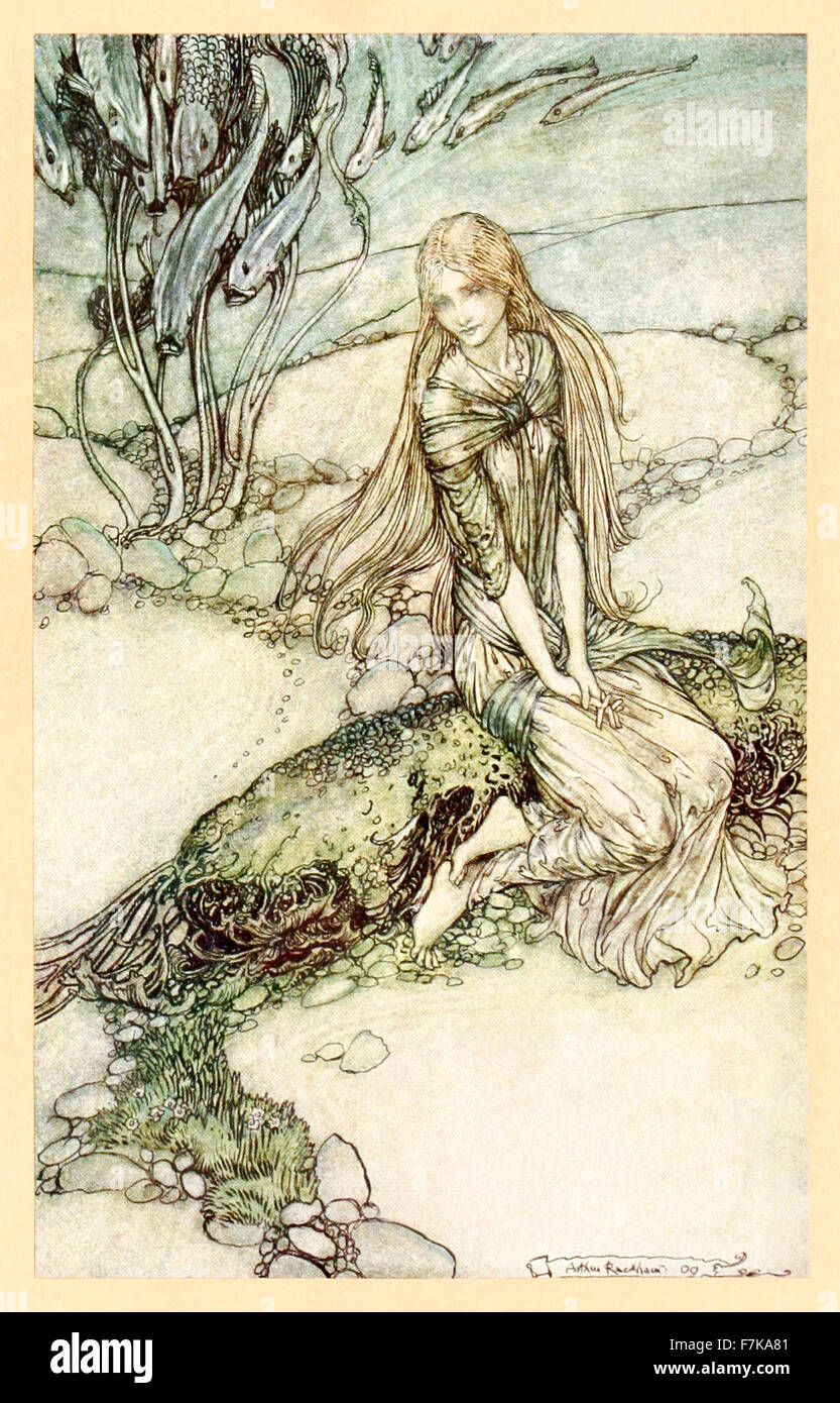 'He could see Undine beneath the crystal vault' from 'Undine' illustrated by Arthur Rackham (1867-1939). - Stock Image