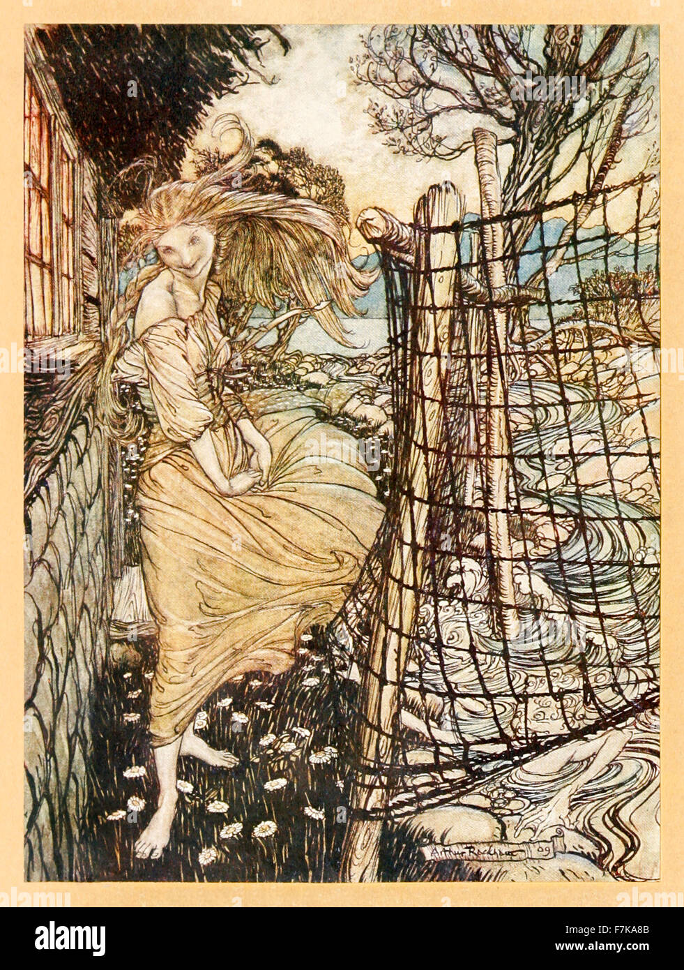 Frontispiece showing 'Undine outside the window' from 'Undine' illustrated by Arthur Rackham (1867-1939). - Stock Image