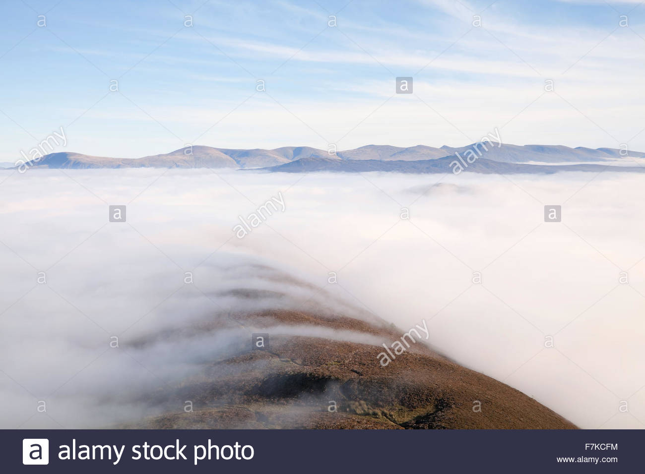 Looking towards Helvellyn from Sleet Hause on Causey Pike - Stock Image