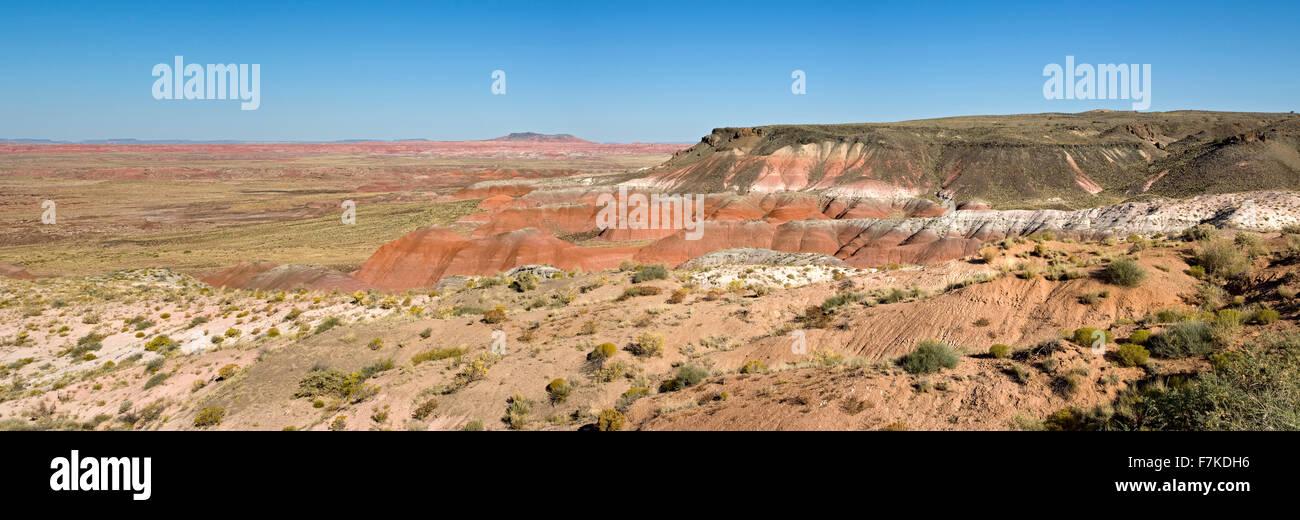 Colorful badlands, Painted Desert, Petrified Forest National Park, Arizona USA - Stock Image