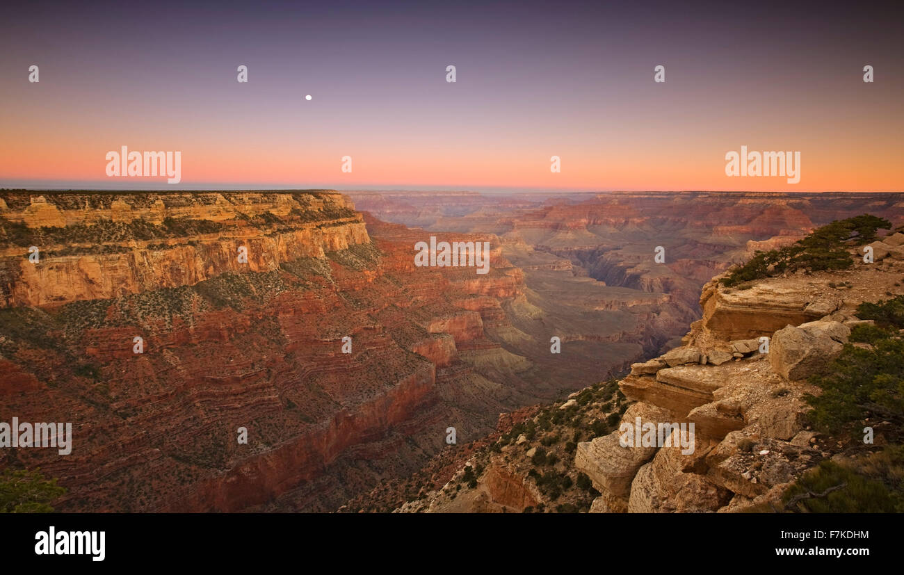 Moon and Grand Canyon from Yaki Point, Grand Canyon National Park, Arizona USA - Stock Image