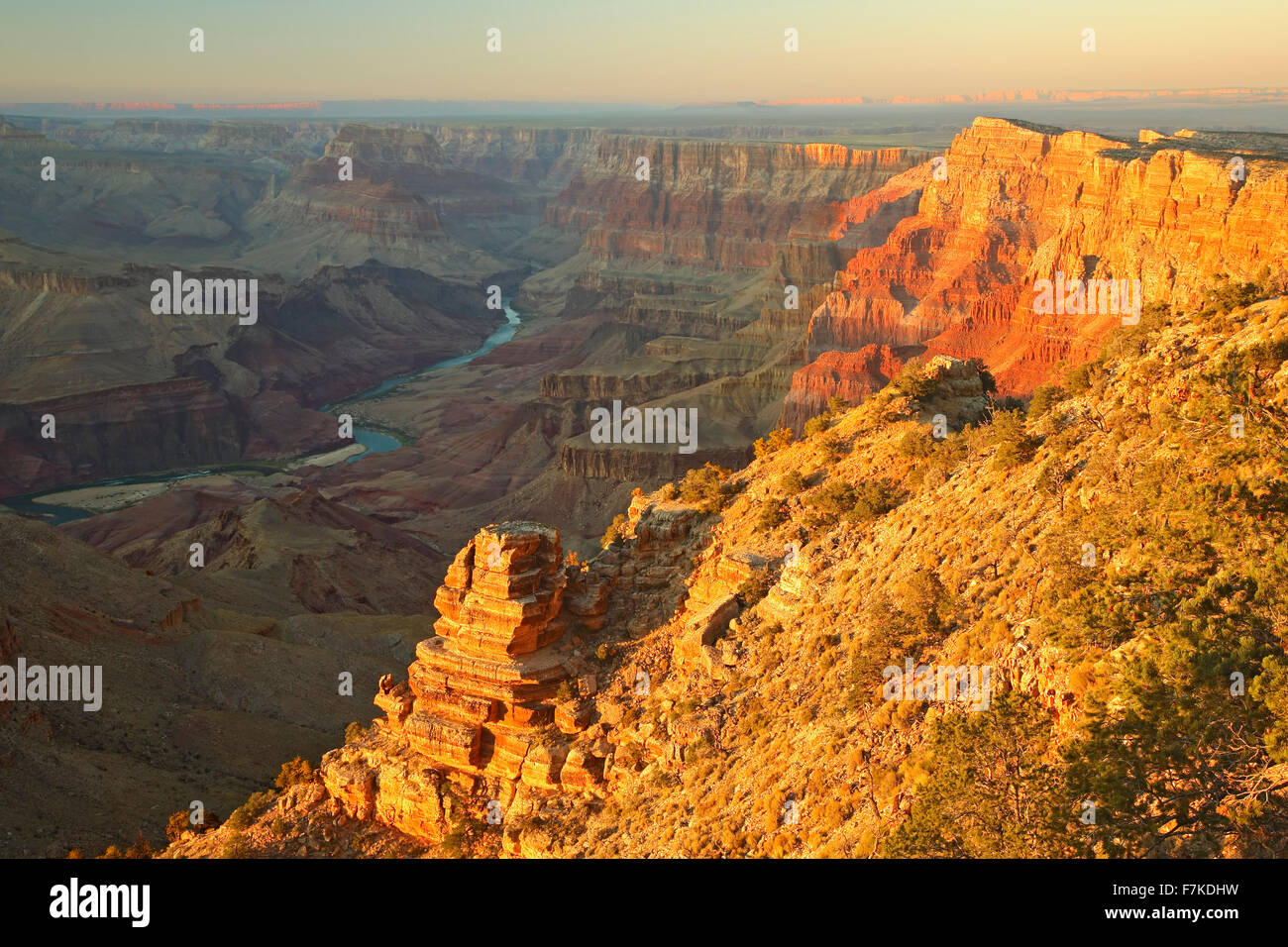 Colorado River and canyon walls from Desert View Overlook, Grand Canyon National Park, Arizona USA - Stock Image