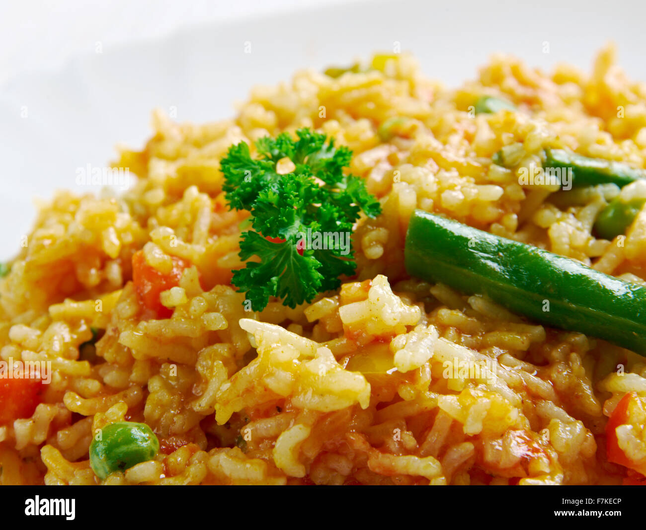 Shahi pulao .Moghlai version of delicately spiced rice - Stock Image