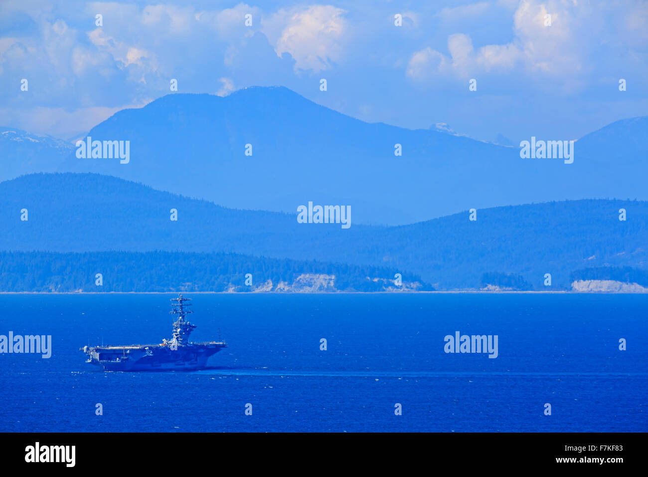 Aircraft carrier USS Nimitz participating in naval exercises at Fairwinds Canadian Forces Maritime Experimental - Stock Image