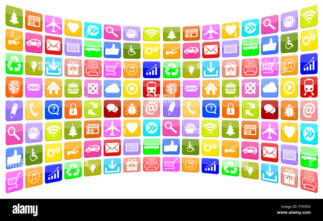 Application Apps App Icon Icons multimedia collection for mobile or smart phone - Stock Image