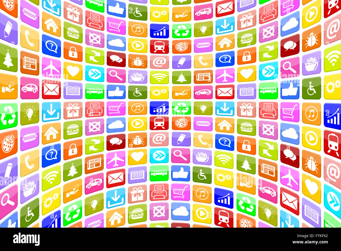 Application Apps App Icon Icons multimedia for mobile or smart phone programs background - Stock Image