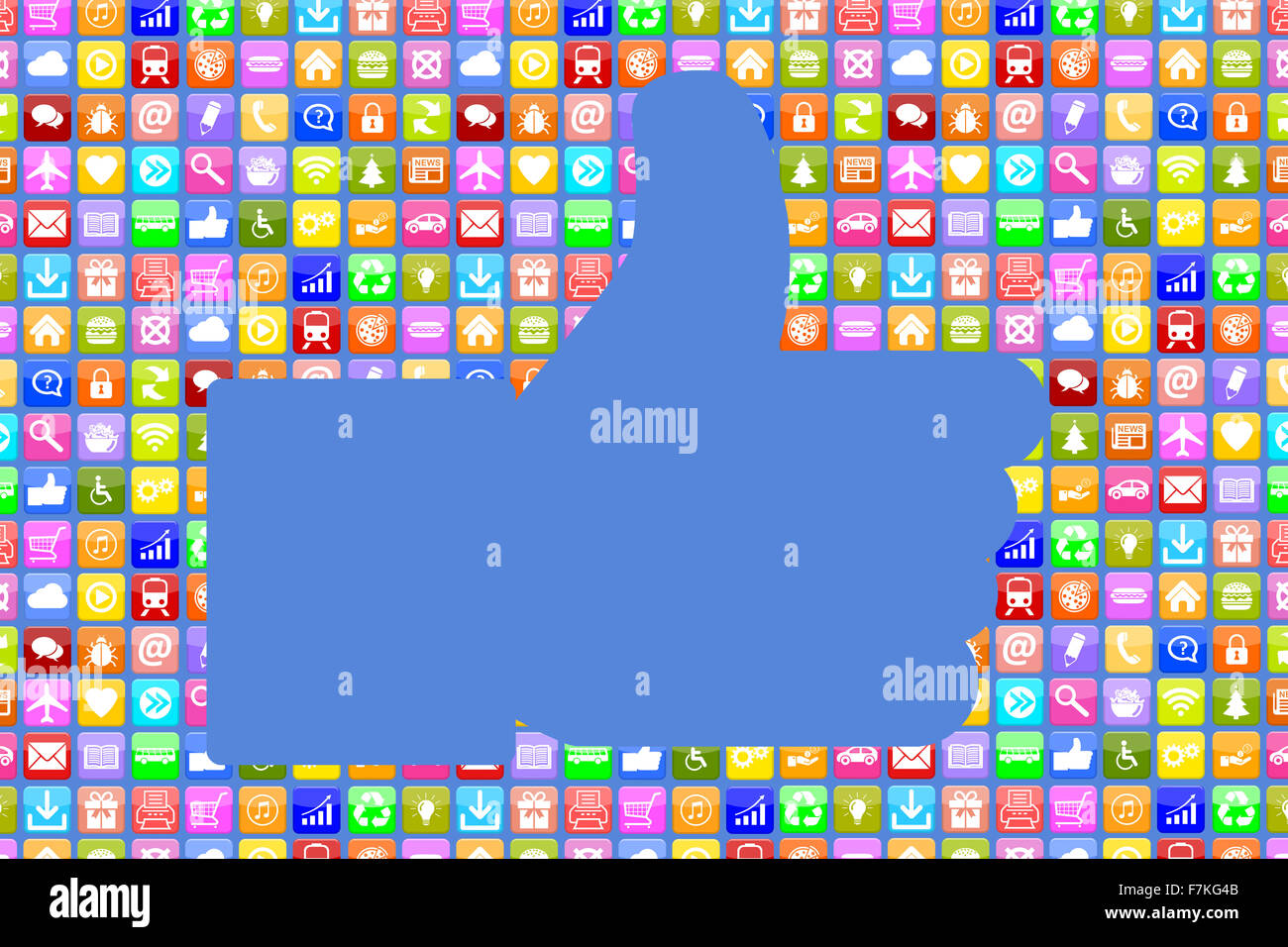 Application Apps App like thumbs up social media network on mobile or smart phone - Stock Image