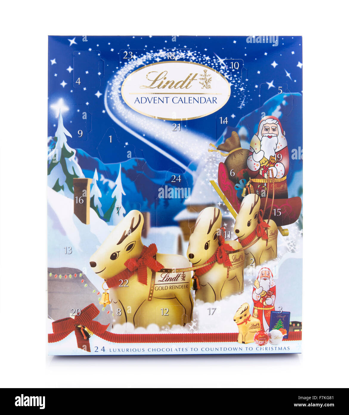 Lindt Advent Calendar on a White Background - Stock Image