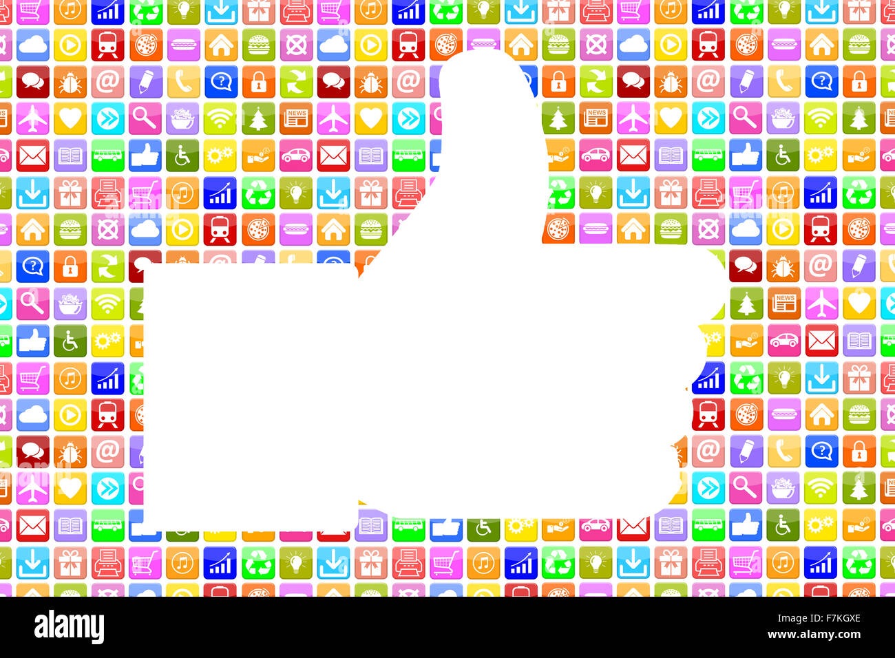 Application Apps App like thumbs up icon social media network on mobile or smart phone - Stock Image