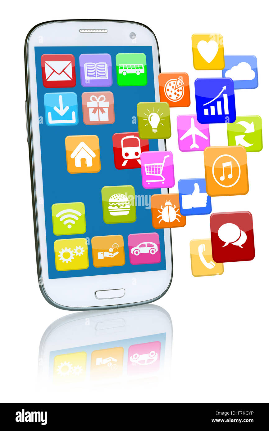 Smart phone or mobile with flying application apps app for internet - Stock Image