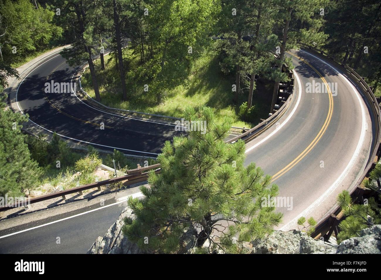 Circular loop on Iron Mountain Road, Black Hills, near Mount Rushmore National Memorial, South Dakota - Stock Image
