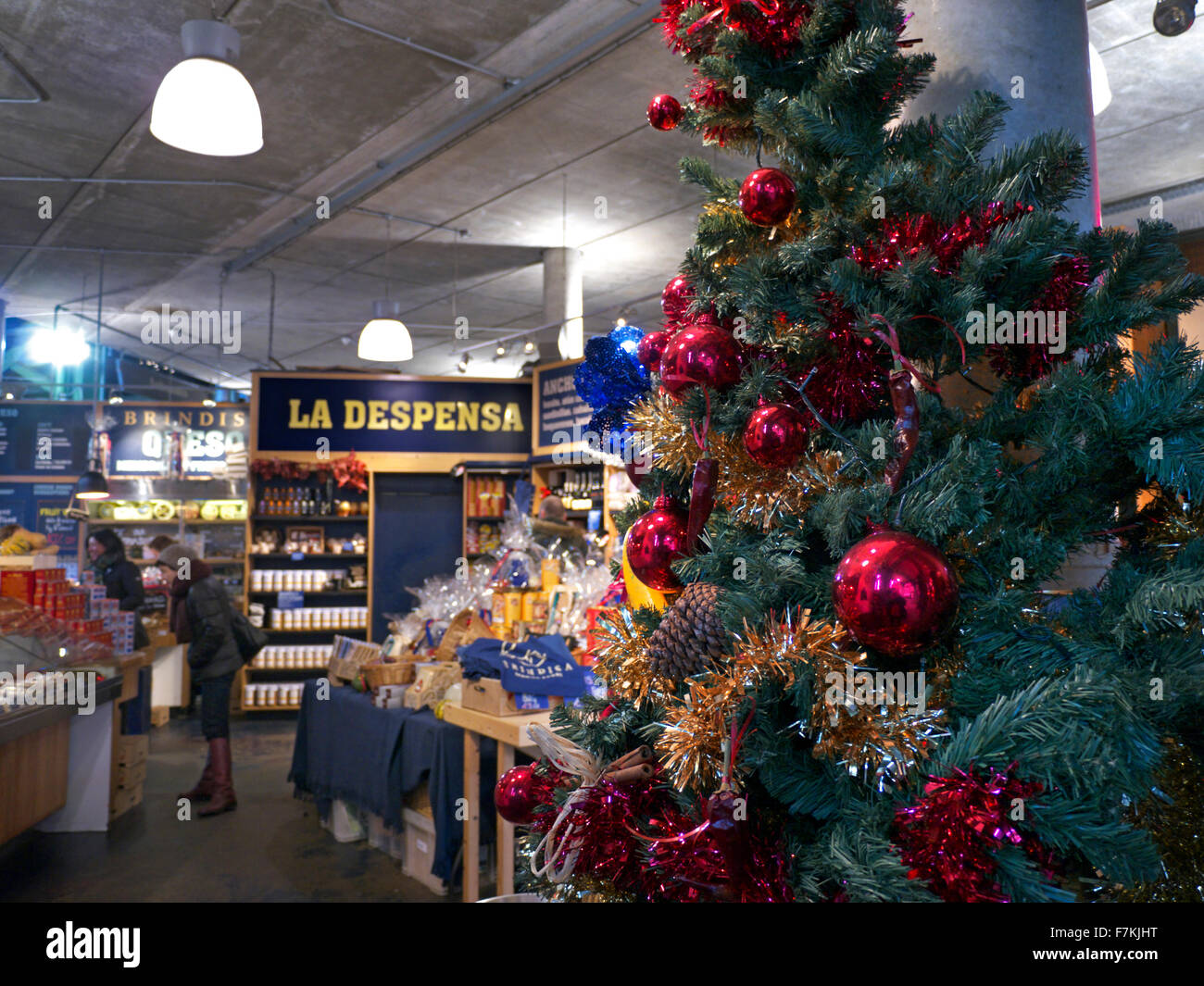 la dispensa italian delicatessen shop store at borough market with christmas decorations london uk