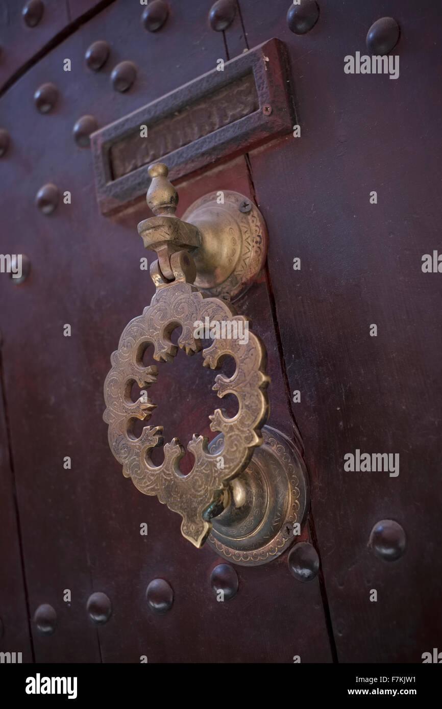 An ornate door knocker in Marrakech - Stock Image