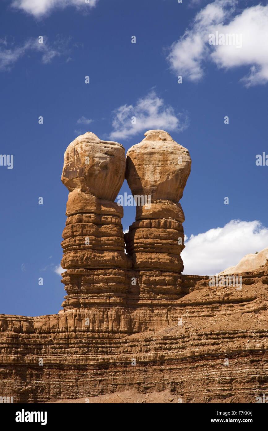 Twin Rocks in Bluff Utah off Route 163 - Stock Image