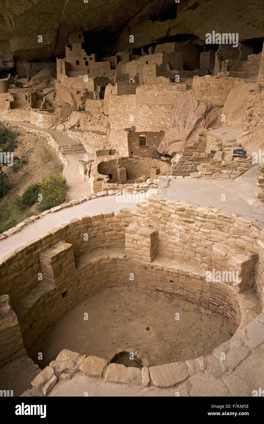 Kiva at Cliff Palace cliff dwelling Indian ruin, the largest in North America, Mesa Verde National Park, Southwestern - Stock Image