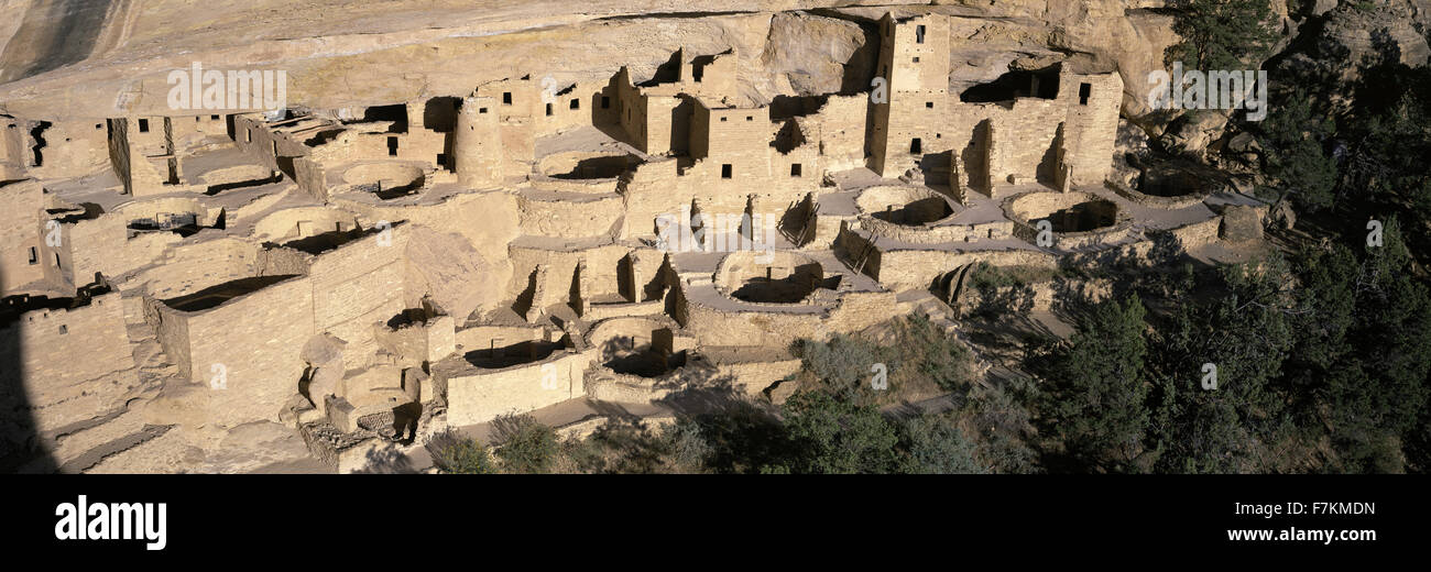 Panoramic view of Cliff Palace cliff dwelling Indian ruin, the largest in North America, Mesa Verde National Park, - Stock Image