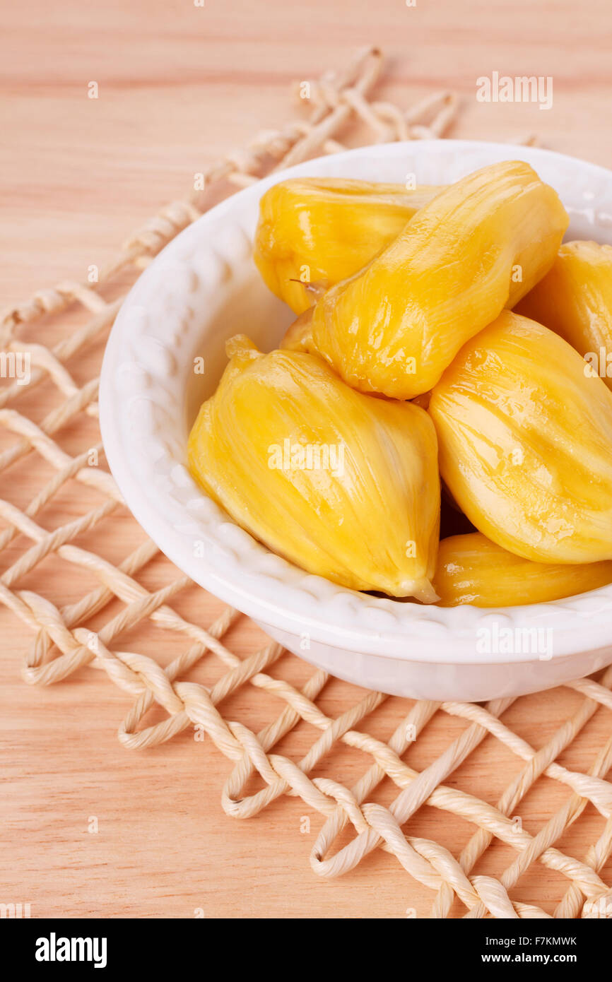 Tropical fruit Jackfruit (jakfruit, jack, jak) in bowl. Selective focus - Stock Image
