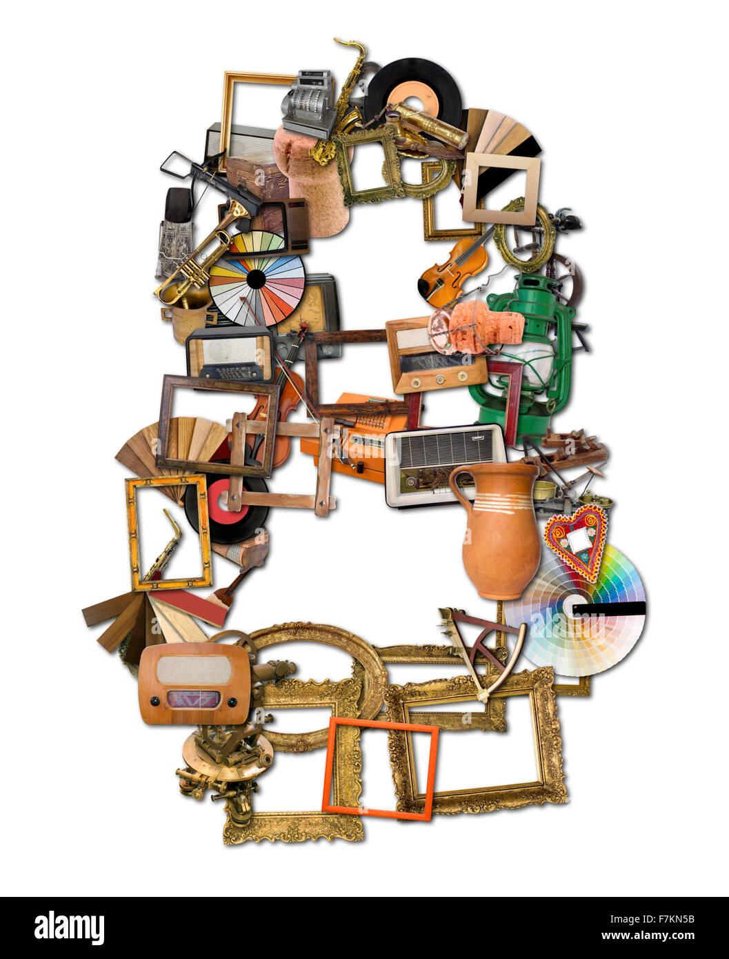 Number Eight Made of Retro Tools - Stock Image