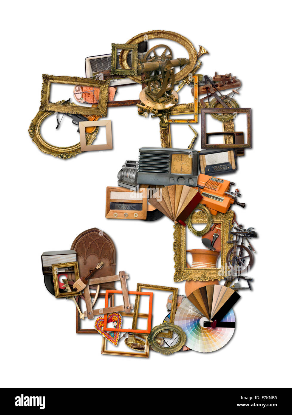 Numbers Three Made of Retro Tools - Stock Image