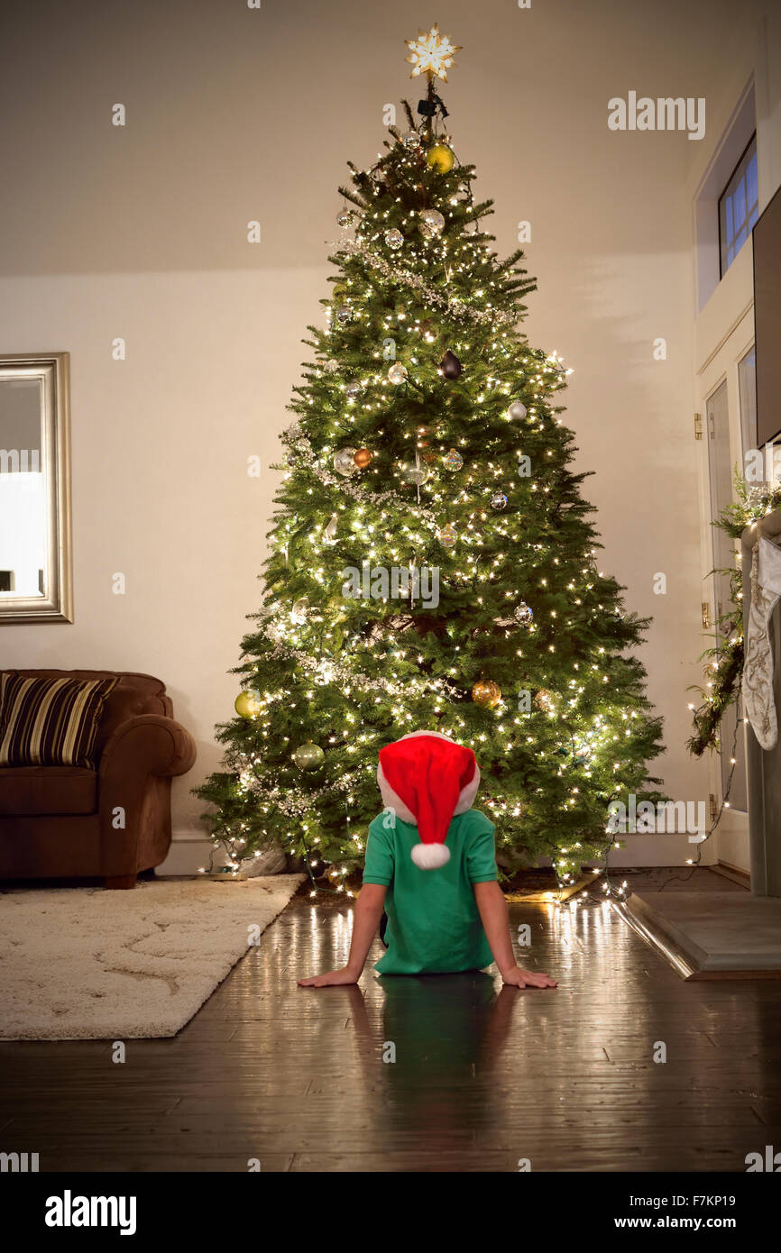 Young boy wearing festive hat sitting at home reviewing his contribution to the newly decorated and lit traditional - Stock Image