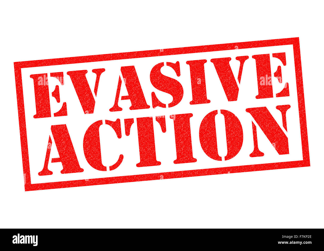 EVASIVE ACTION red Rubber Stamp over a white background. - Stock Image