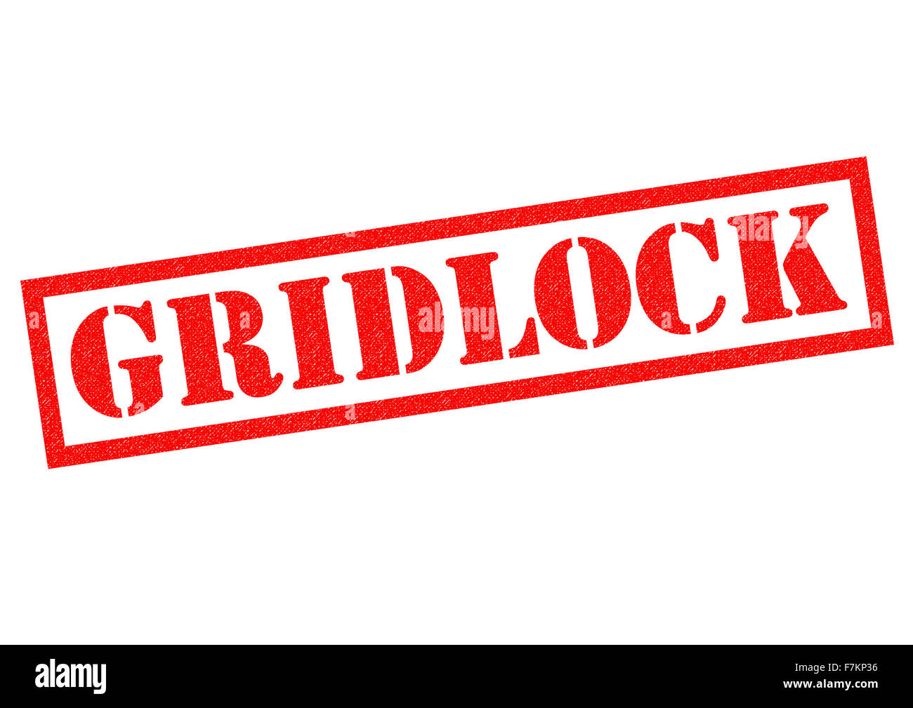 GRIDLOCK red Rubber Stamp over a white background. - Stock Image