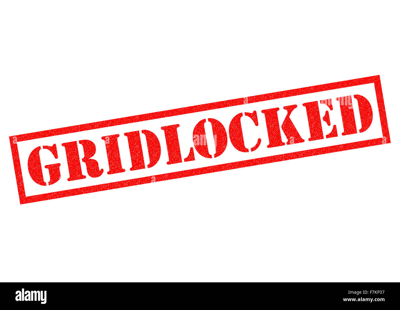 GRIDLOCKED red Rubber Stamp over a white background. - Stock Image