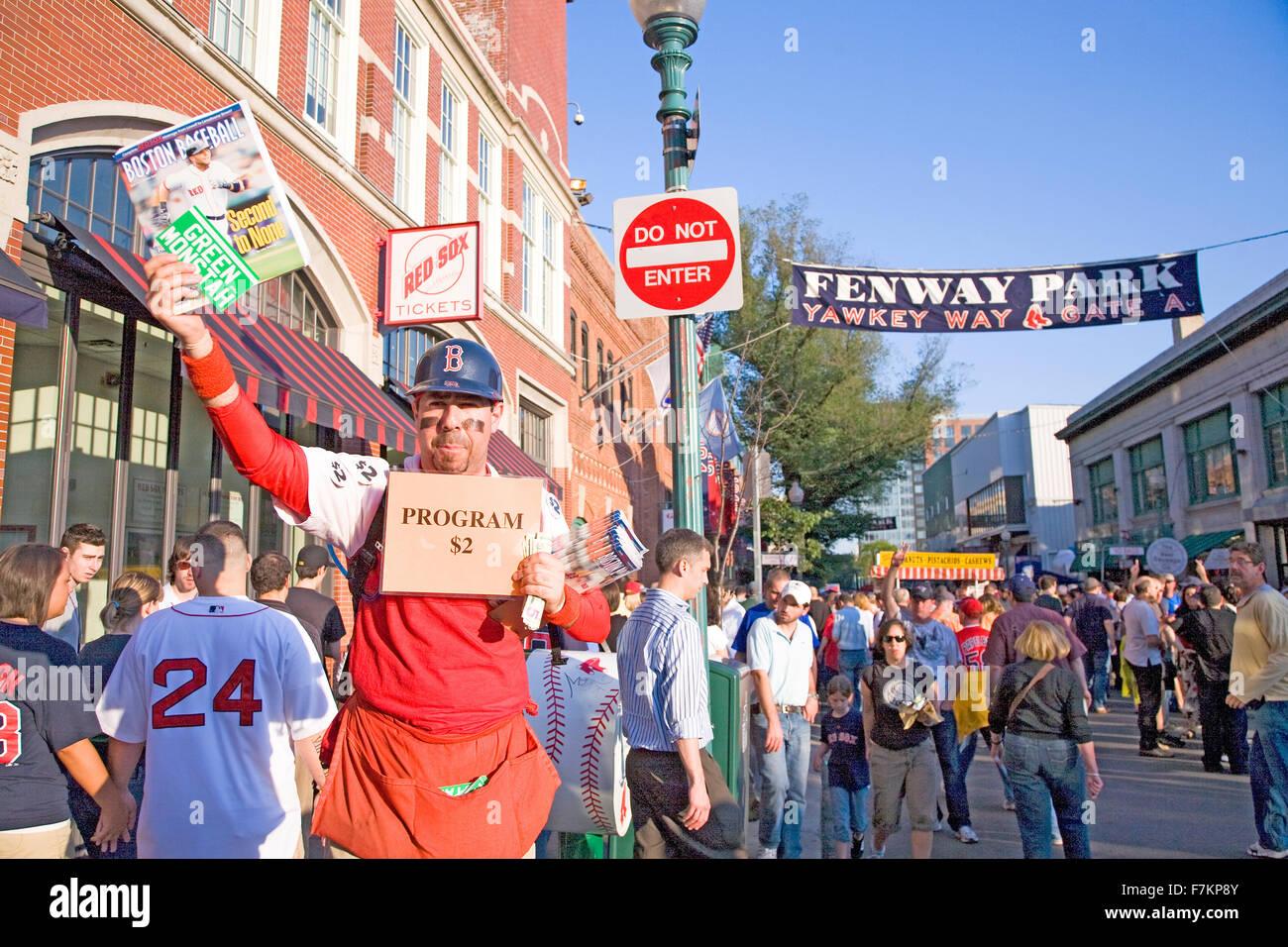 Programs $2 at historic Fenway Park, Yawkey Way, Gate A, Boston Red Sox, Boston, Ma., USA, May 20, 2010, Red Sox - Stock Image