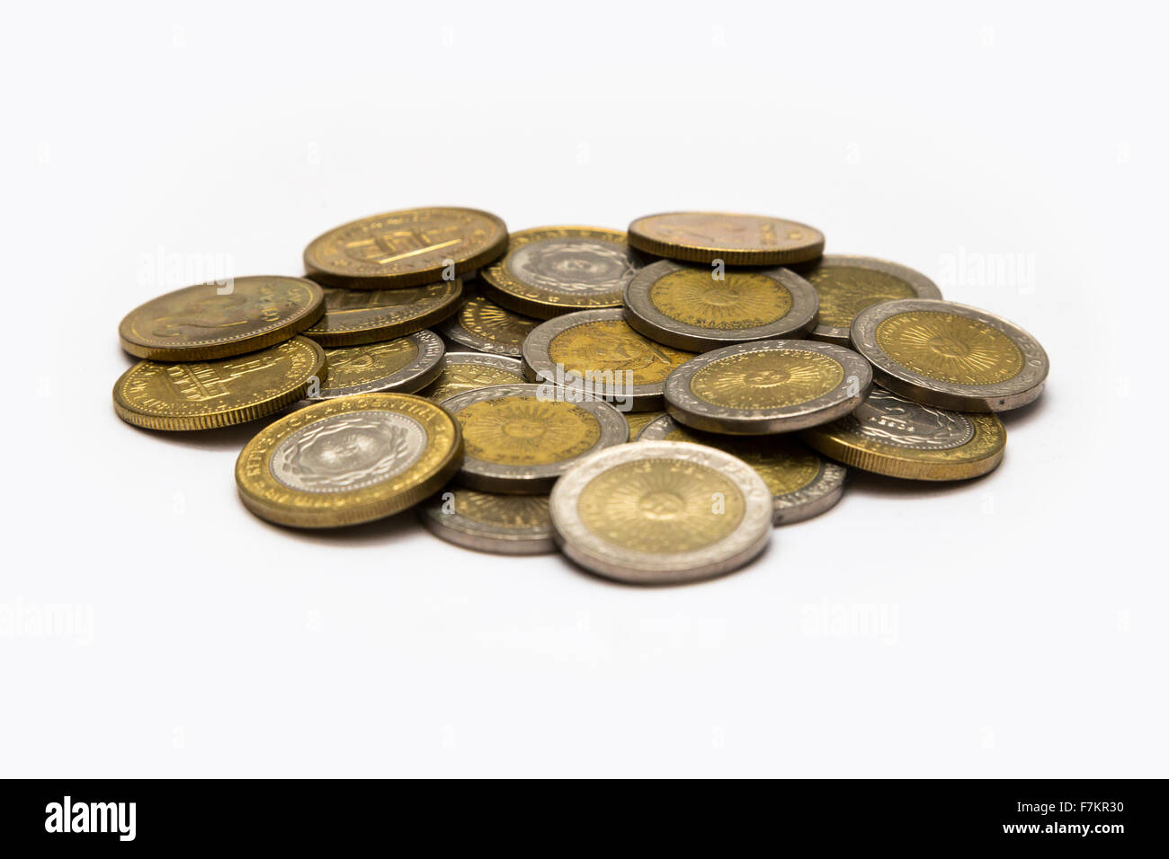 Many Argentine coins - Stock Image