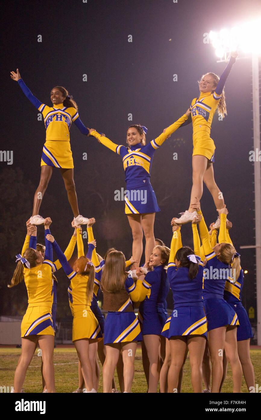 High school football cheerleaders as Ojai Nordhoff Rangers Football team defeat Verbum Dei Eagles 21-0 on November - Stock Image