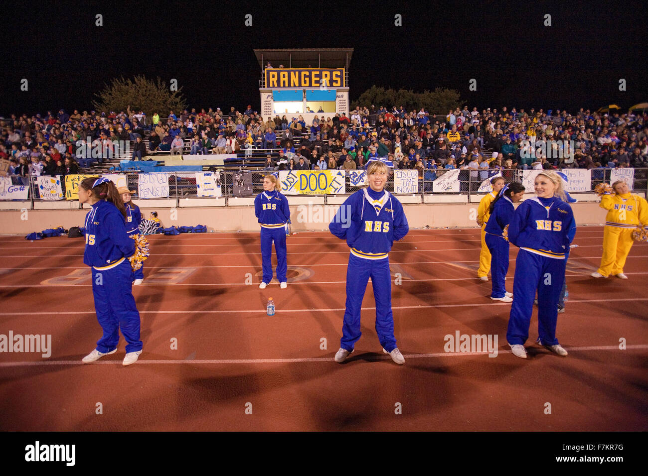 High school football cheerleaders for Ojai Nordhoff Rangers Football team who defeat Verbum Dei Eagles 21-0 on November - Stock Image