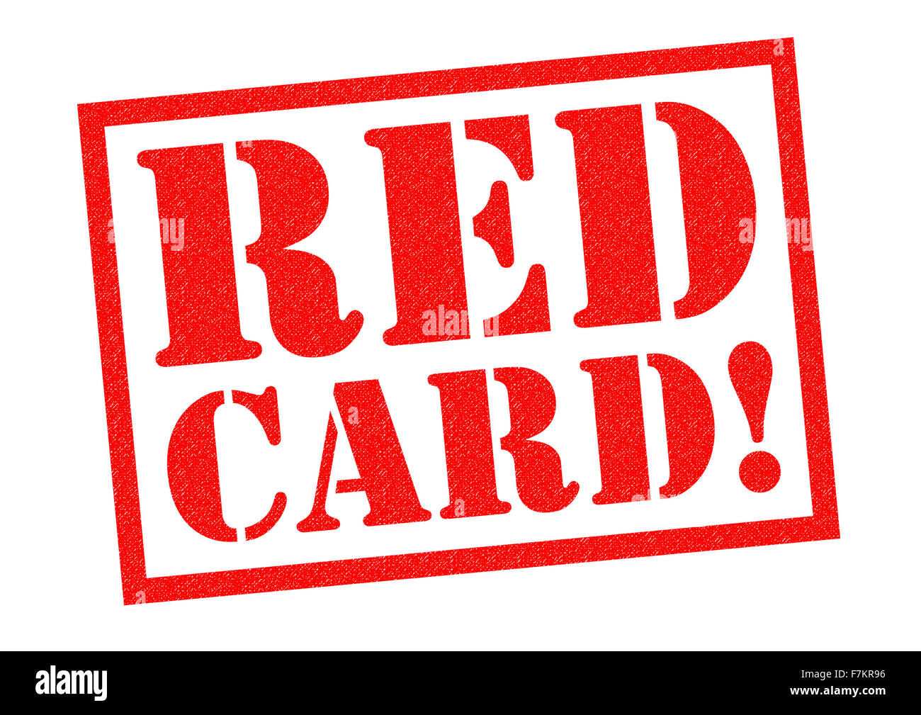 RED CARD! red Rubber Stamp over a white background. - Stock Image