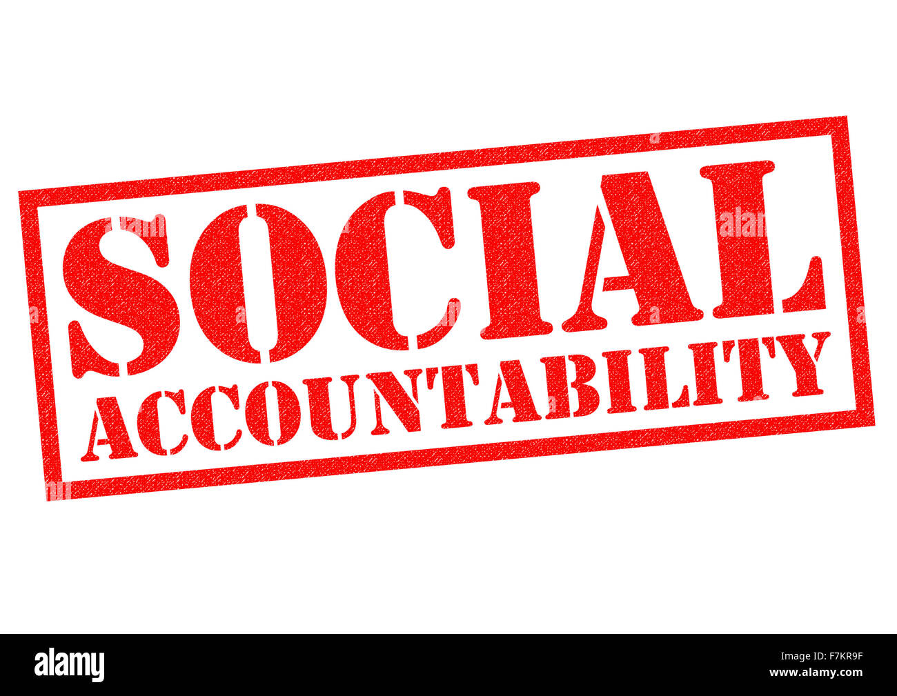 SOCIAL ACCOUNTABILITY red Rubber Stamp over a white background. - Stock Image