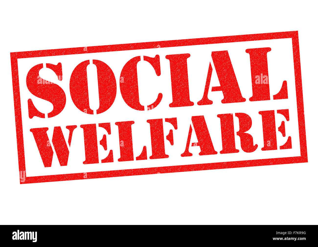 SOCIAL WELFARE red Rubber Stamp over a white background. Stock Photo