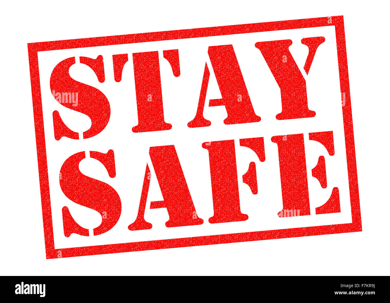 STAY SAFE red Rubber Stamp over a white background. - Stock Image